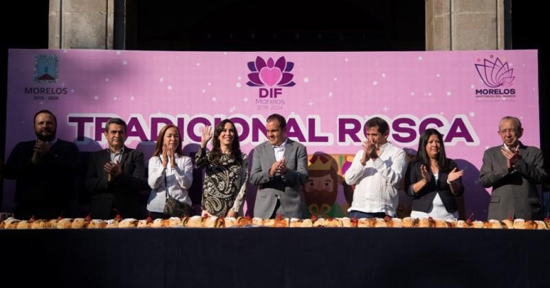 Realiza DIF Morelos la tradicional partida de rosca de reyes
