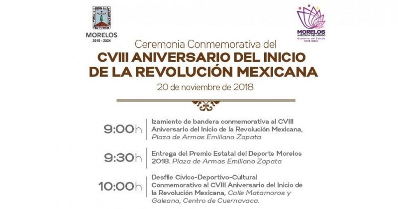 Listas las actividades conmemorativas al CVIII aniversario del inicio de la Revolución Mexicana