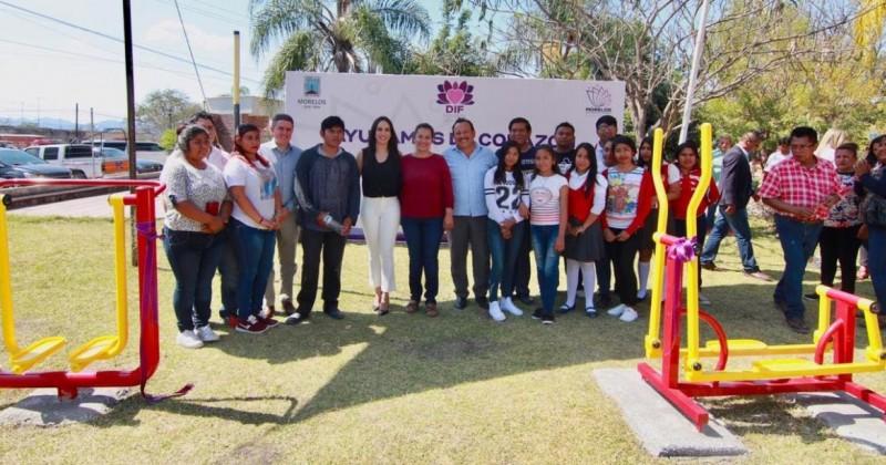 Inaugura DIF Morelos gimnasio al aire libre en Axochiapan